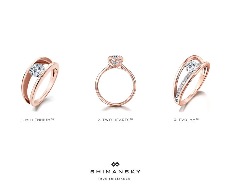 The unique blush undertones and pink hues of rose gold are stunning in every way and when set in three of Shimansky's most beautiful designs, what's not to love! #rosegold #engagementring #shimansky
