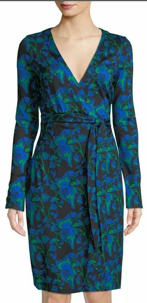 eee8c1a8ca4 Diane Von Furstenberg Waylen Black Julian Banded Wrap Dress Size 4 $468 DVF  #DianevonFurstenberg #