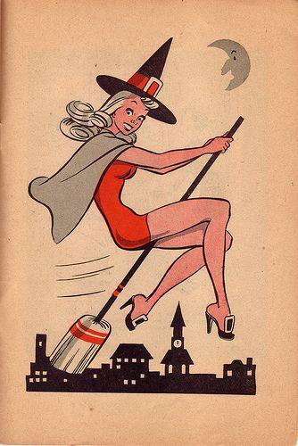 Vintage Witch - Retro Halloween Illustration - Mid Century Vintage Halloween