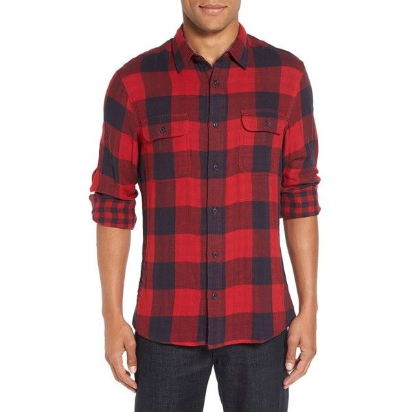Men's Nordstrom Men's Shop Trim Fit Buffalo Plaid Flannel Shirt Jacket ($70) ❤ liked on Polyvore featuring men's fashion, men's clothing, red chili buffalo check, mens clothing and men's apparel