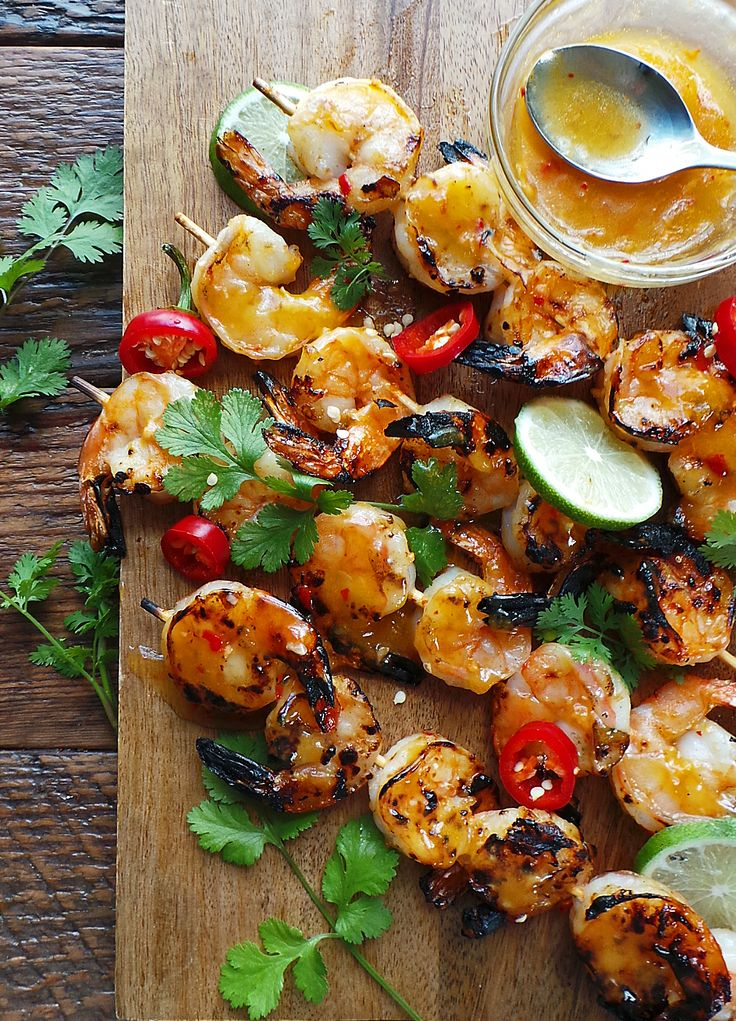 This Orange Chili Grilled Shrimp from www.vodkaandbiscuits.com looks like a delicious summer meal -- there's nothing easier than shrimp skewers!
