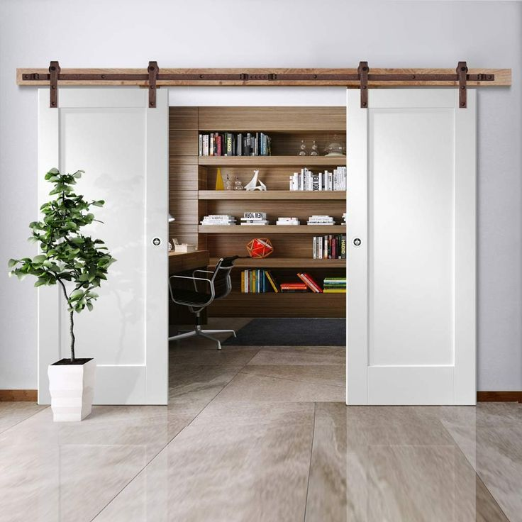 Thruslide Traditional Pattern 10 1P Sliding Double Door - White Primed - Lifestyle Image.    #doubleslidingdoors #barnstyledoors