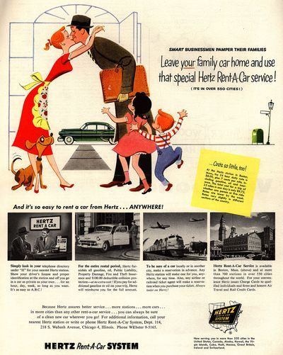 Hertz car rental ads from the 1950s   Advertise it ...1950s Cars For Rent