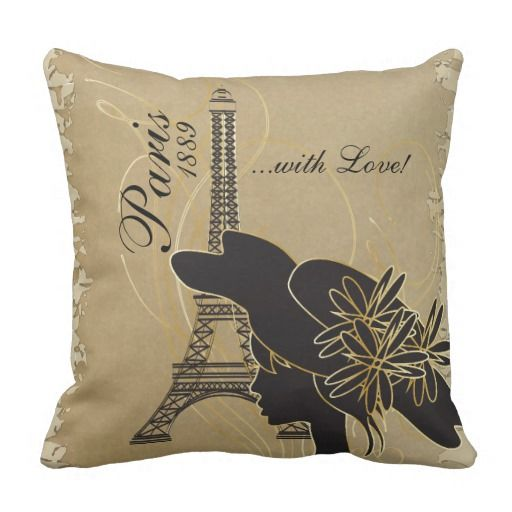 Paris with Love and Silhouette Girl Throw Pillow