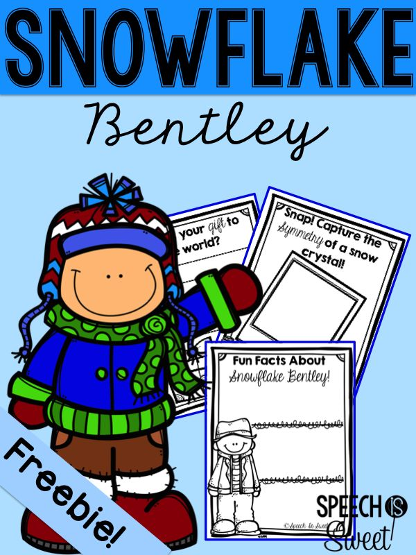 Snowflake Bentley Freebies and ideas! This is a wonderful winter read for speech therapy or the classroom!