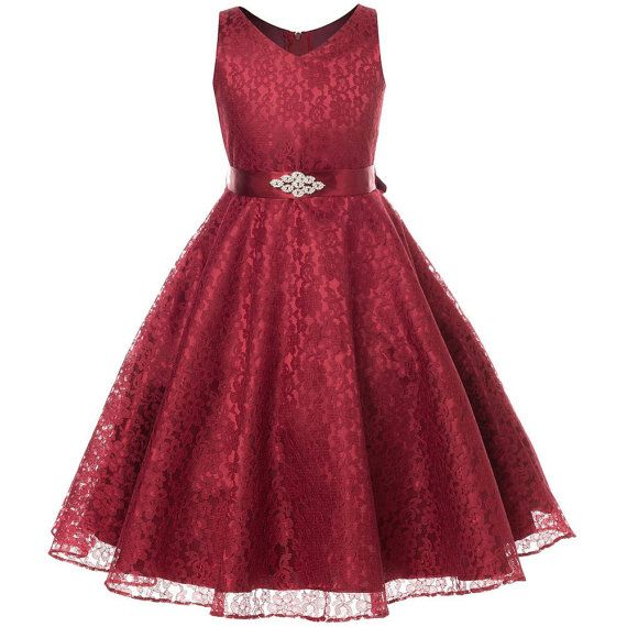 Flower girl dress burgundy lace overlay with brooch embellished waist. Burgundy flower girl dress, Burgundy Junior bridesmaid dress