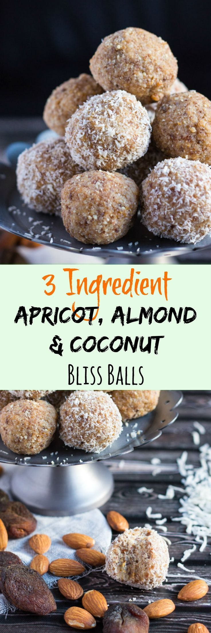3 Ingredient Apricot, Almond & Coconut Bliss Balls.  Very quick to make, and great to keep on hand in the fridge for emergency snacking.