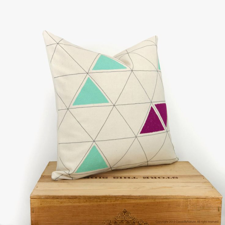 Hand printed decorative pillow cover - Triangle design in mint green, raspberry, dark grey and cream - Pillow Case, 16x16 inches / 40x40 cm by ClassicByNature on Etsy https://www.etsy.com/listing/123078183/hand-printed-decorative-pillow-cover