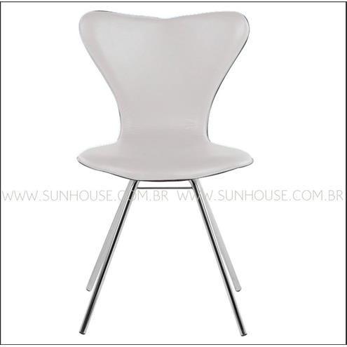 Cadeira Jacobsen Cromada Corino Branco - 12346