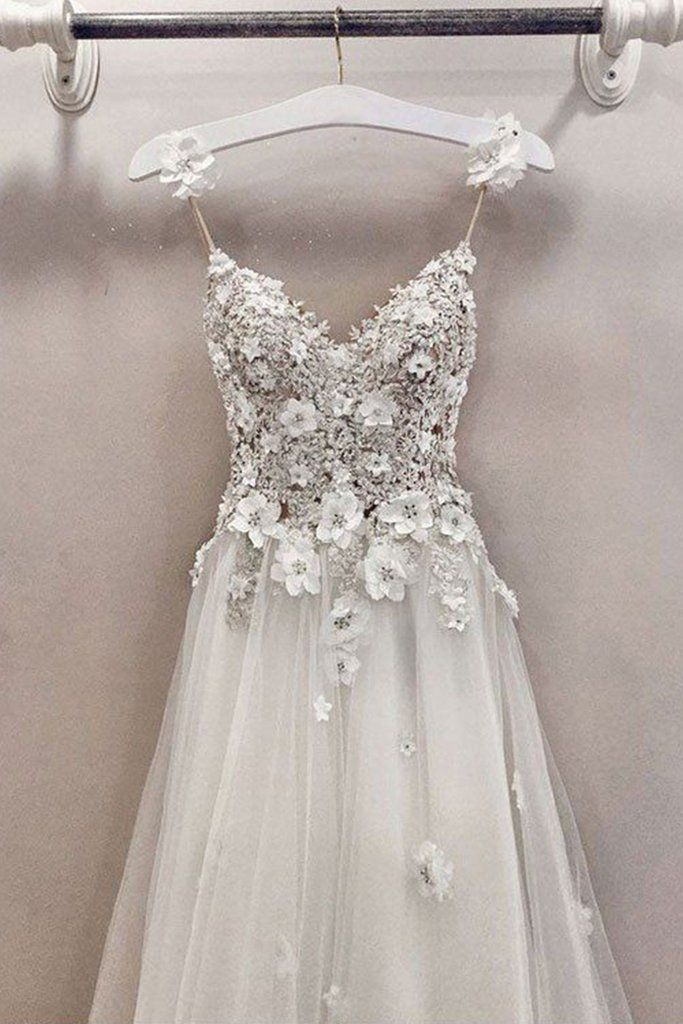 A Line Spaghetti Straps Cute V Neck Floor Length Tulle Prom Dress with Flowers N815 9