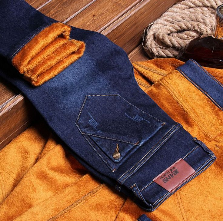 Autumn/Winter man's Classical Thicken Plus velvet cotton jeans male Fashion Basic section Warm slim fit teenager pants
