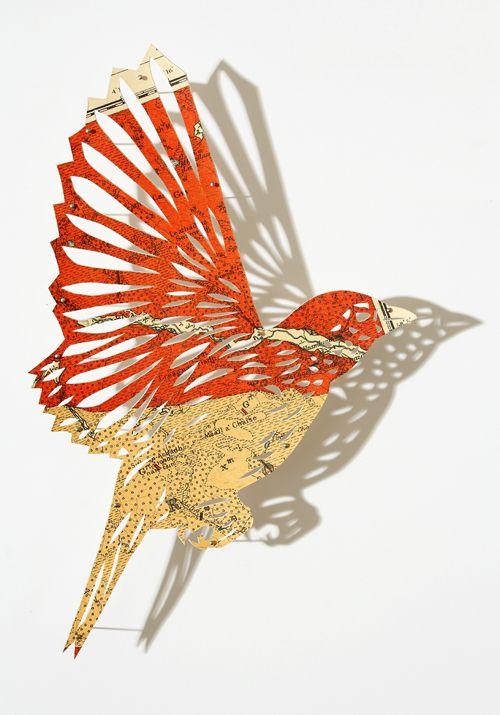 Bird cut out paperwork pinterest beautiful the for Beautiful paper cutting art