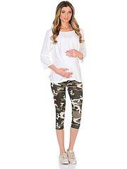 Леггинсы для беременных укороченные 40 недель  Трикотажные укороченные леггинсы для беременных в стильной камуфляжной расцветке. Комфортные и приятные к телу с низкой посадкой под живот и регулируемой резиночкой в поясе они хорошо садятся по фигуре в любой период беременности и после. Колоритная расцветка позволяет сочетать такие леггинсы с любыми футболками топами и маечками.. Леггинсы для беременных укороченные 40 недель промокоды купоны акции.