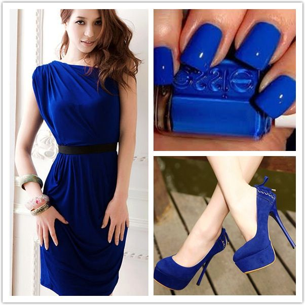 Deep blue fashion outfit: Dress, nails, and shoes