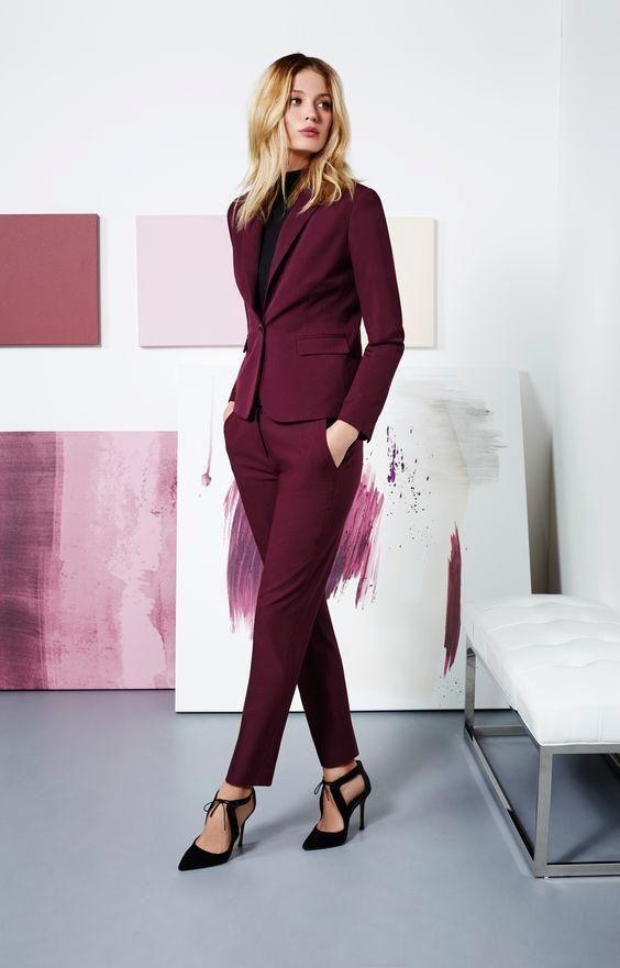 fd5cbfec94c Burgundy Women Suit Custom Made Business Office Work Wear Jacket+Pants 2pcs  Suit #Unbranded #Suits