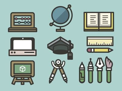 Dribbble - Nano School Icon Set by Fabricio Rosa Marques