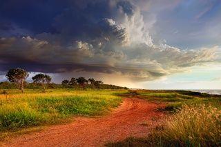Austrálie, bouře, mraky, nebe, mraky, cyklon, břeh, cesta