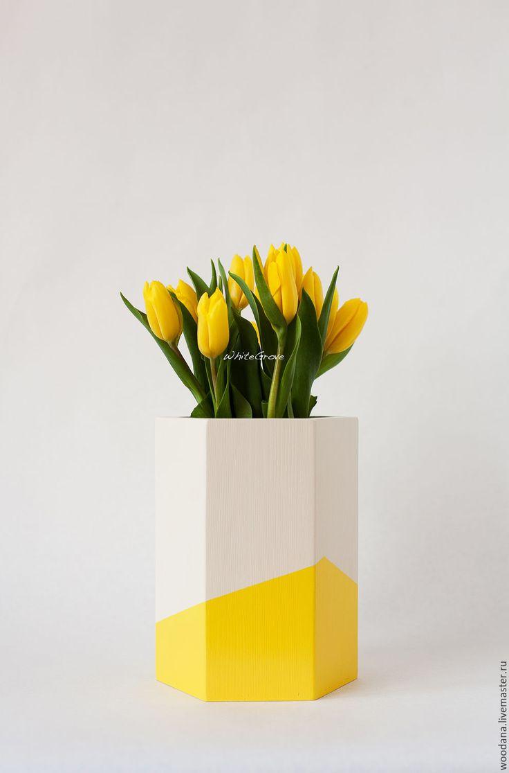 """Купить Деревянная ваза-кашпо """"Малевич на отдыхе"""" - ваза, ваза для цветов, ваза декоративная"""