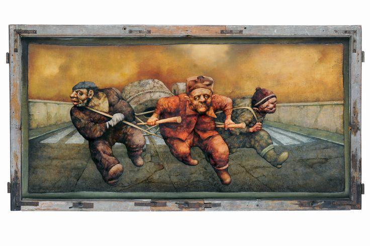 Jeźdźcy Apokalipsy, czyli Fucha - 1977 - olej na płótnie - 75x150
