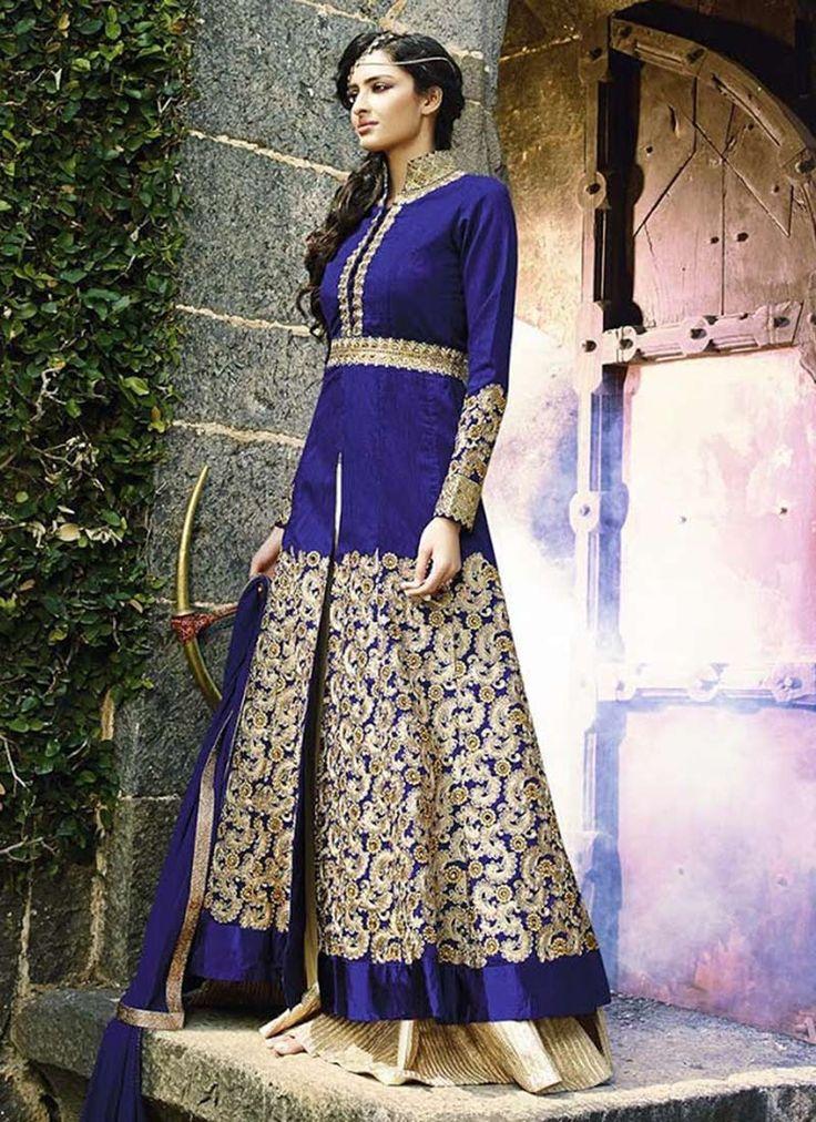 Dark Blue Layered Floor Length Anarkali Suit