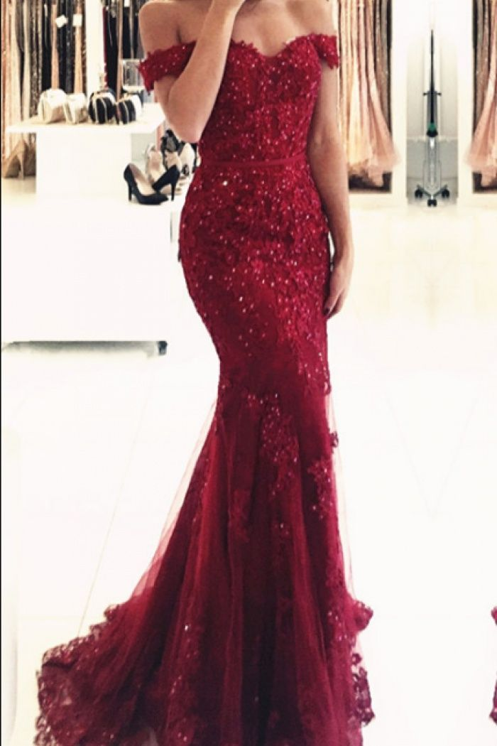 45b4262c241 Glamorous Off-the-shoulder Appliques Mermaid Lace Prom Dress Red Evening  Dress