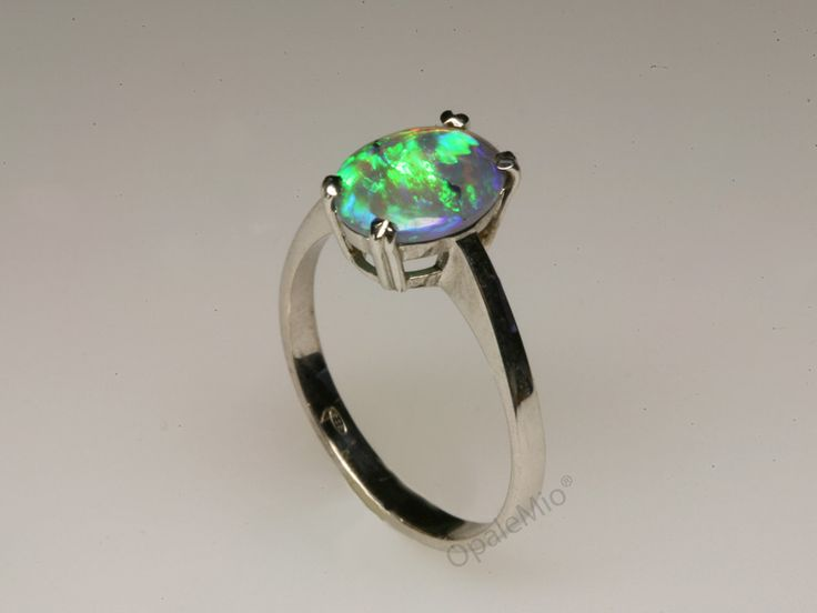 Anello in argento e opale crystal australiano australian natural crystal opal silver ring minerals gems jewellery