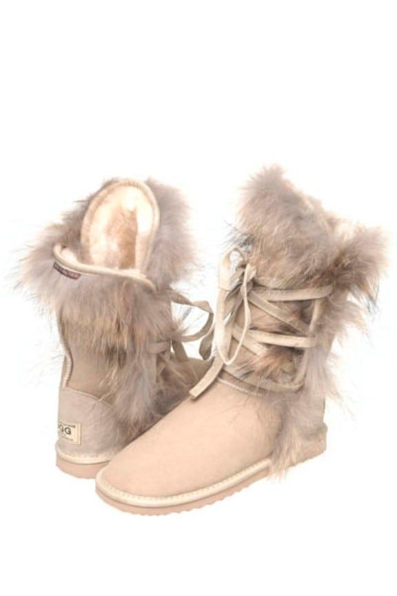 Roxy/Foxy Ugg Boots Roxy/Foxy Ugg Boots are made from Genuine Australian sheepskin.Foxy fur trimming on the top,side and bottom along with long laces on it