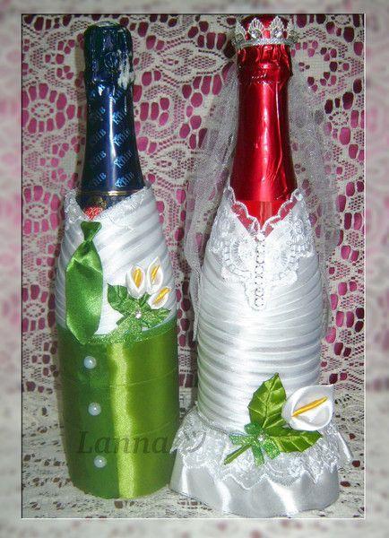 Diy Wedding Decorations Decorated Bottles Altered Glass Jars Flutes Champagne Vases Candles Bodas