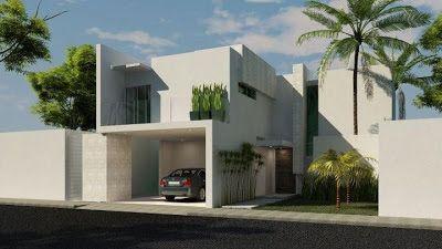 Fachadas de Casas Modernas: Elegante fachada de casa moderna con balcon