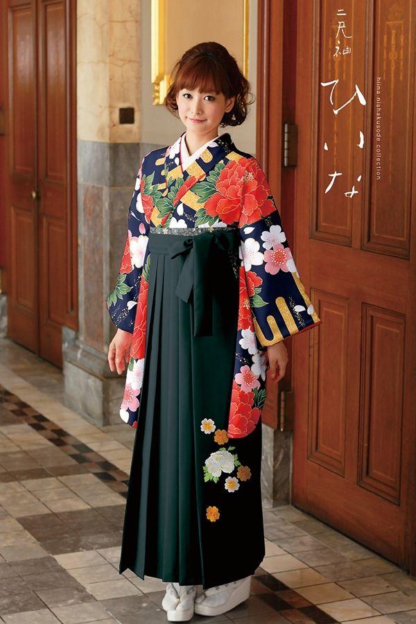 古典柄袴 紺色 古典系袴 Style 卒業式の袴Styleは女の子の特別な1日!友達と差をつける!!