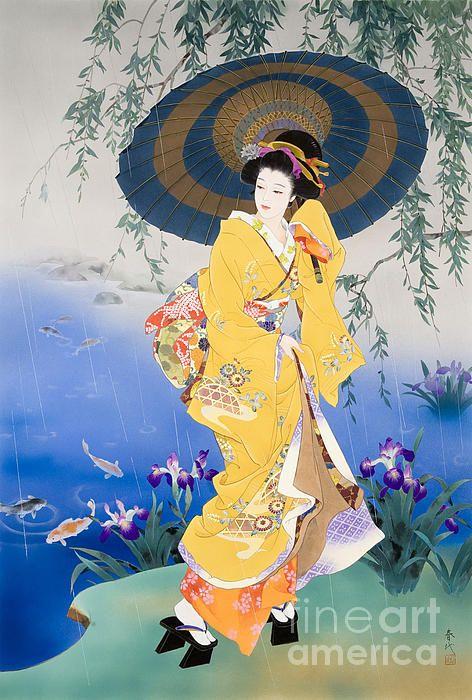 lgemlde lbild portrait frau geisha asiatische malerei