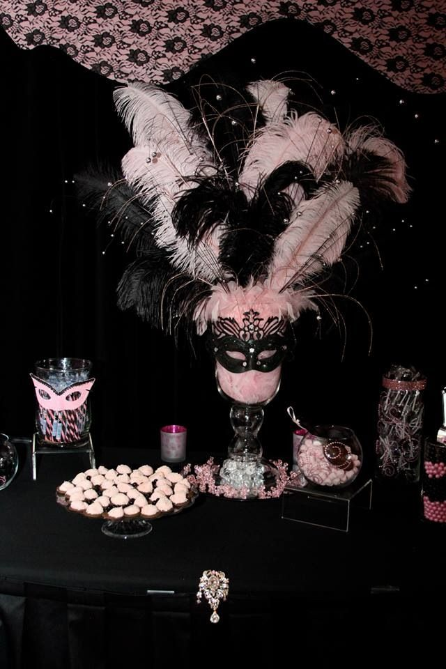 Final results of my daughter's Sweet 16 masquerade party! Center piece for the candy bar