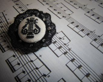 Hand embroidered brooch Black harp with black lace. - Edit Listing - Etsy