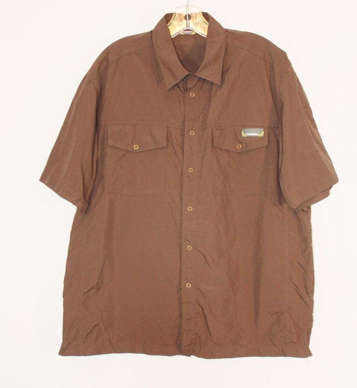 Mens Size XL Workshirt Terra Brand Brown Chest Pockets Snap Closure Short Sleeve #Terra #ButtonFront
