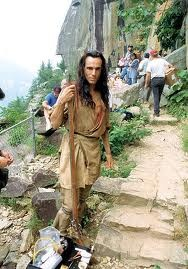 """Daniel Day Lewis in 1992 filming """"The Last of the Mohicans"""" in Chimney Rock Park in North Carolina.  http://www.romanticasheville.com/images2012/mohican.jpg"""