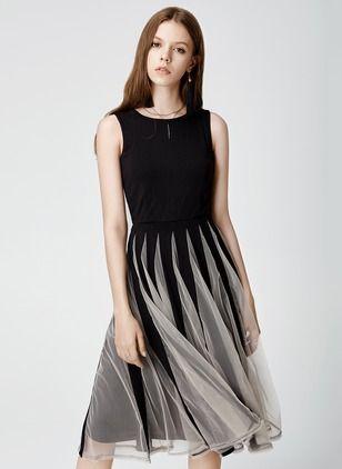 Polyester Color Block Sleeveless Knee-Length Casual Dresses (1017691) @ floryday.com