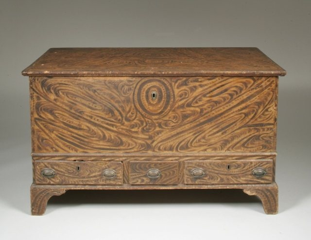 Grain Painted Three-Drawer Blanket Chest  Pennsylvania, 1780-1800  H. 29 1/6 in.; W. 50 _ in.; D. 24 _