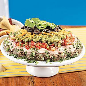 five layer mexican dip new serving twist on an old favoriteMexicans Dips, Dips Recipe, Fivelay Mexicans, Five Lay Mexicans, Parties Recipe, Appetizers Dips, Bowls Recipe, Layered Mexicans, Dip Recipes