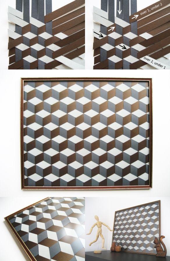 DiY Geometric Woven Paper Picture Tutorial | Adorablest