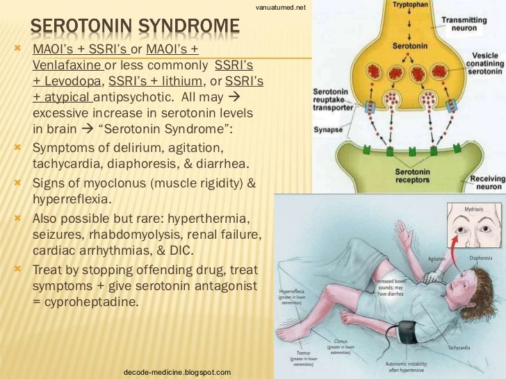 Serotonin syndrome is a dangerous and potentially life-threatening condition you can get when your body has too much of the neurotransmitter/hormone serotonin. It's especially caused when two or more drugs/supplements are taken together. Some nutritional supplements may also contribute to serotonin syndrome. Substances that can lead to serotonin syndrome include: St. John's wort, Panax ginseng, 5-HTP, can turn up serotonin levels in your body & cause serotonin syndrome.