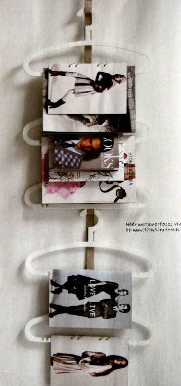 IKEA plastic hangers on tabbed ribbons. very fashion boutique!