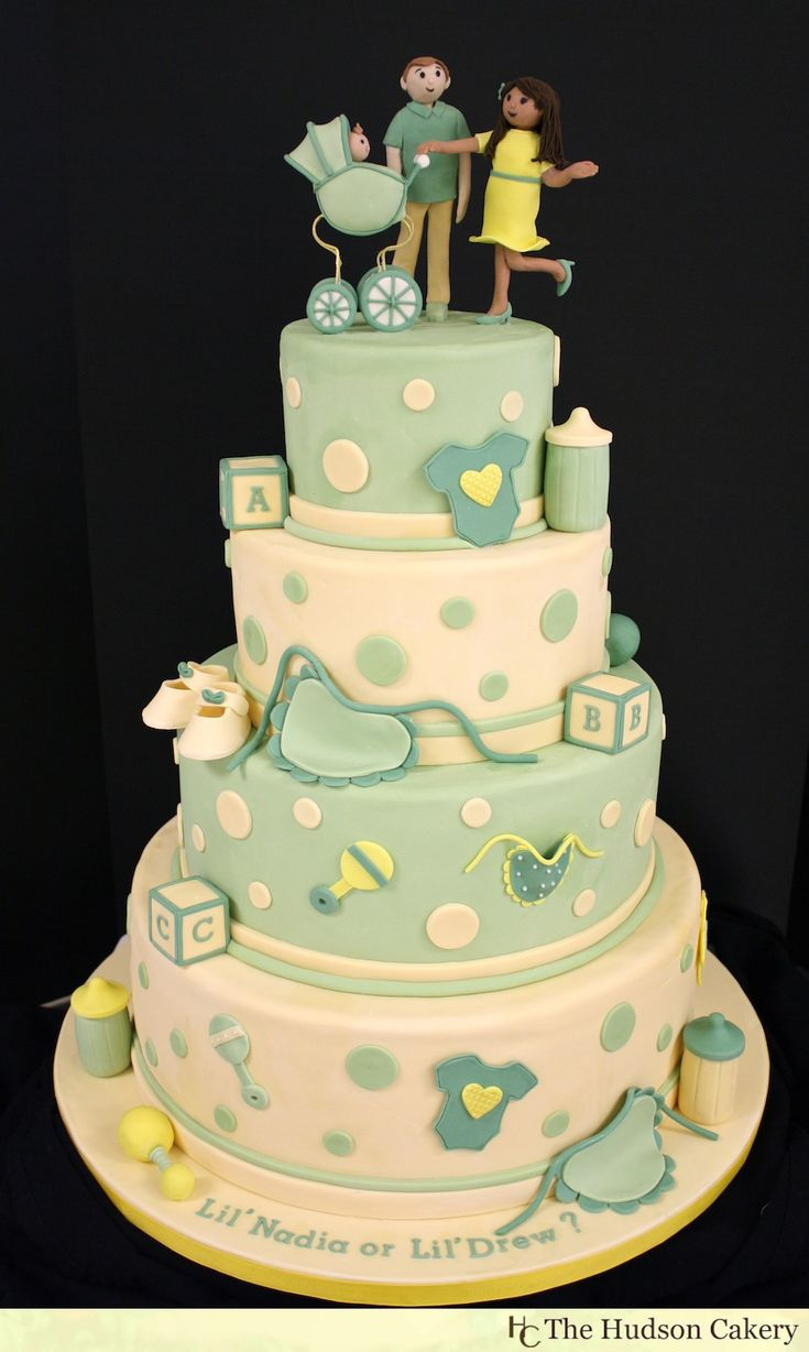 Gender Neutral Baby Shower Cake For A Large And Amazing Gender Reveal Baby  Shower In North Jersey. Cake Topper Is Fondant As Well As The Rest Of The