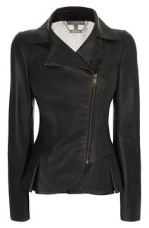 4Fall..#Alexander #McQueen Matt Leather Mini-Bustle Jacket