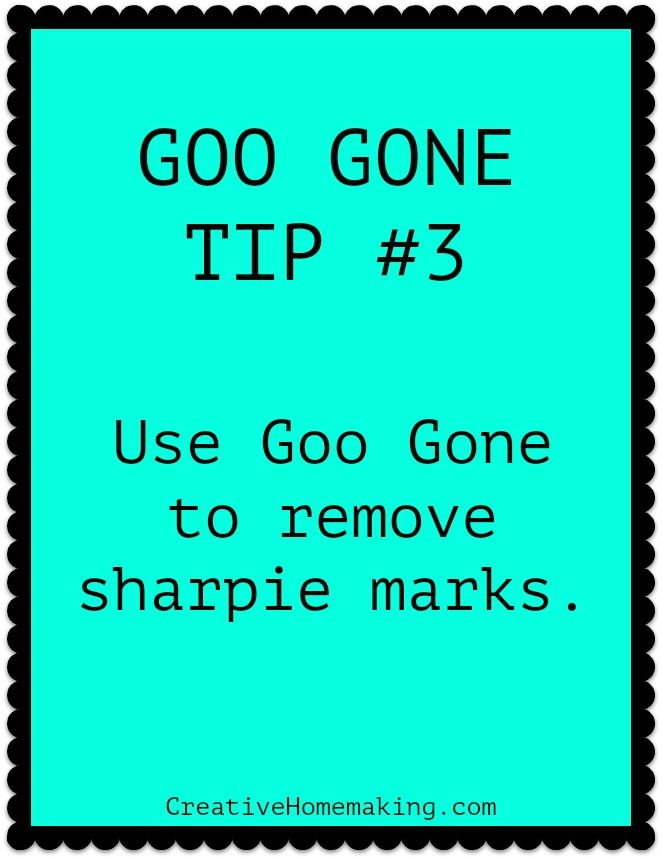 Goo Gone Cleaning Tip Number 3. Use Goo Gone to remove sharpie marks from almost anything. #cleaning #cleaninghints #cleaninghacks #creativehomemaking