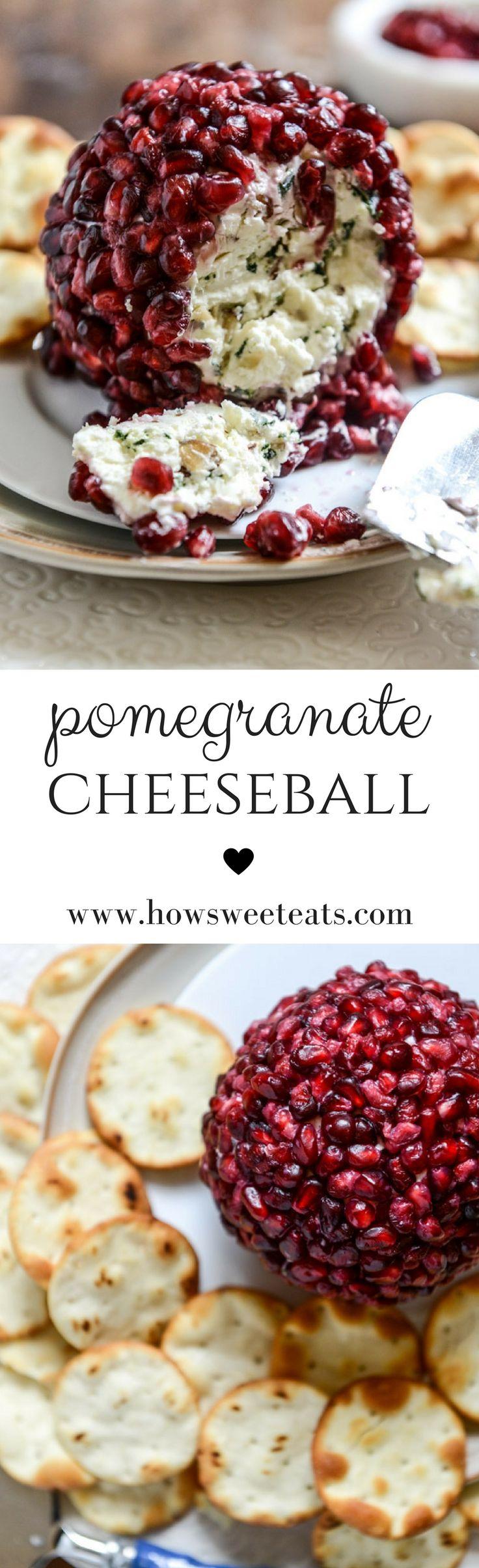 Pomegranate Jeweled Cheeseball I howsweeteats.com @howsweeteats #thanksgiving #appetizers
