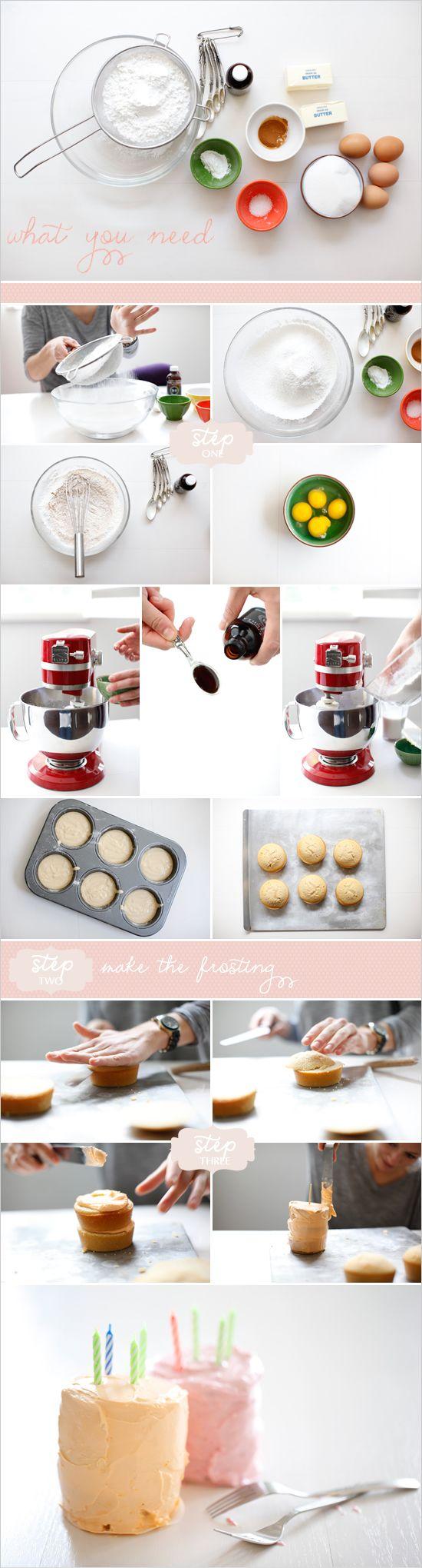 how to make mini cakes using a muffin pan. #dessert #recipes http://www.weddingchicks.com/2012/03/19/how-to-make-mini-cakes/