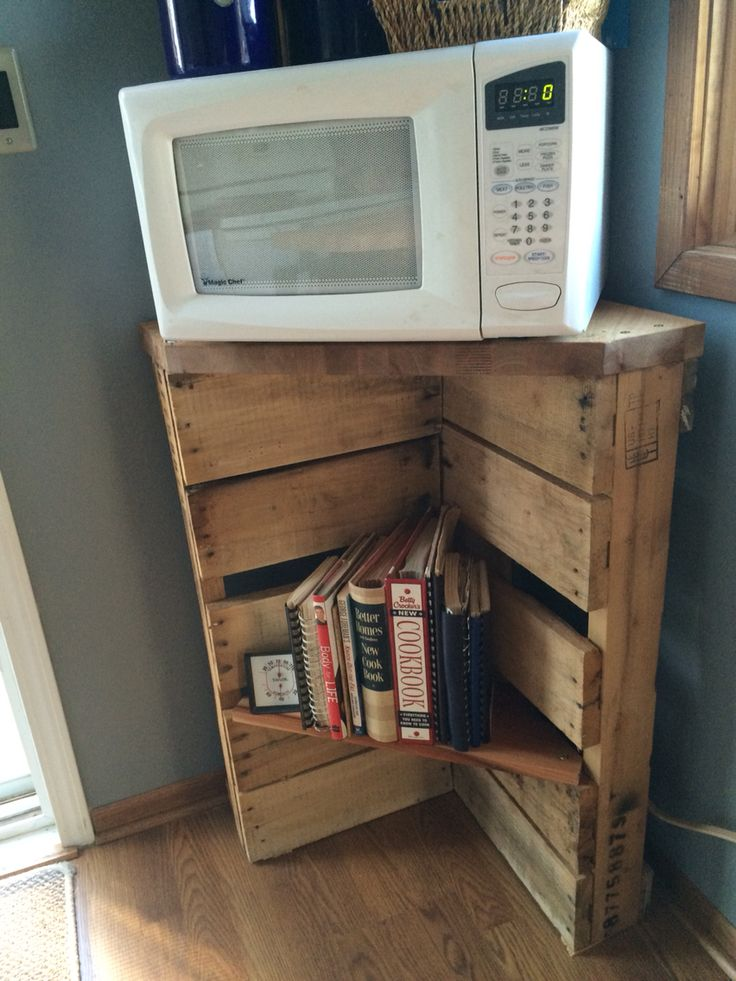 Pallet Microwave Stand And Cookbook Shelf