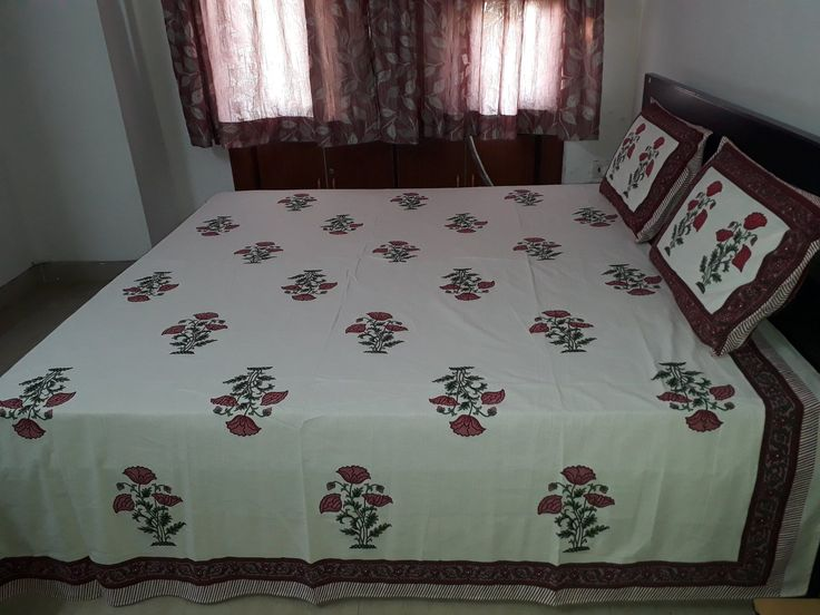 Floral Block Print Double Bed Sheet #DoubleBedSheets