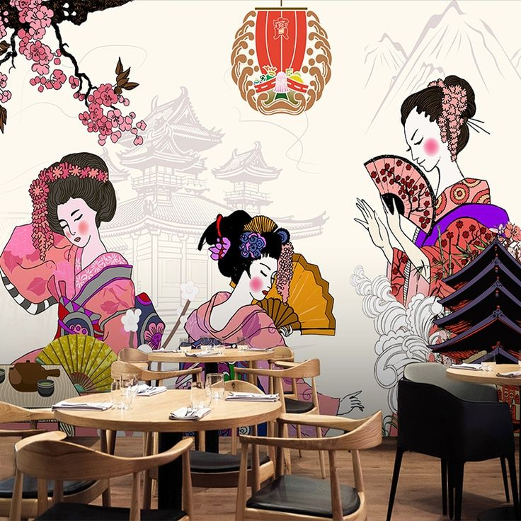 18.72$  Buy now - Free Shipping 3D stereo classical Japanese Geisha wallpaper Japanese food sushi restaurant hotel mural wallpaper   #buymethat