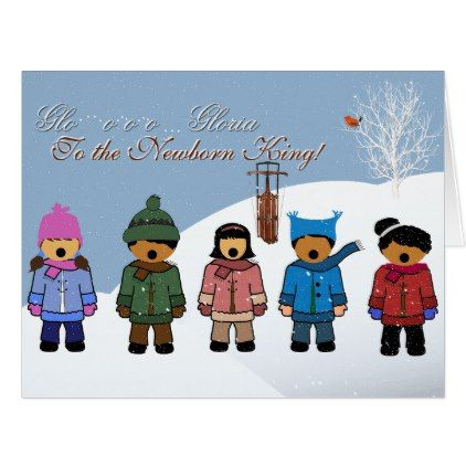 "Children Singing ""Gloria to the Newborn King"" Card - newborn baby gift idea diy cyo personalize family"